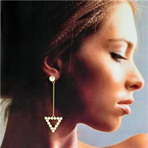 1p Gold Earrings with Hanging studs 7cm MILEVA Collection Chic Fashion 78246