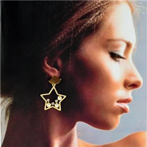 1p Gold Earrings with hanging studs 4cm MILEVA Collection Chic Fashion 78253