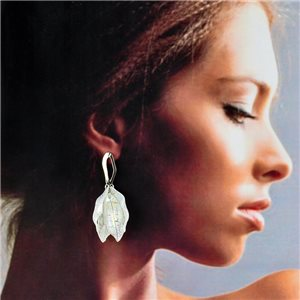 1p Silver Earrings with Drop Studs 5cm FLORA Fashion Chic Collection 78259