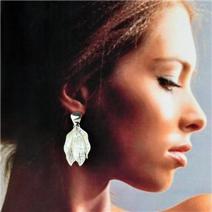 1p Silver Earrings with Drop Studs 5cm FLORA Collection Chic Fashion 78261