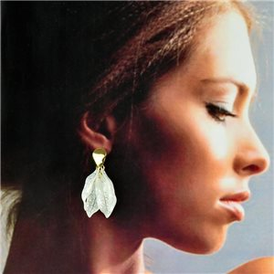 1p Gold Earrings with Dangling studs 5cm FLORA Fashion Chic Collection 78262