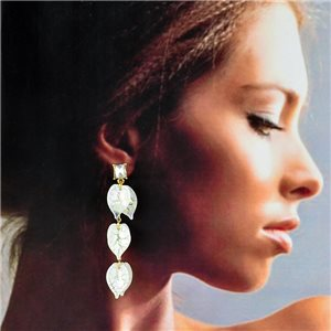1p Gold Earrings with Drop Studs 7cm FLORA Collection Chic Fashion 78268