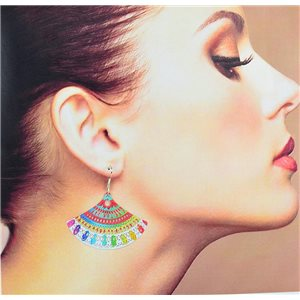 1p Filigree earrings with silver hook New Ethnic Collection 78350