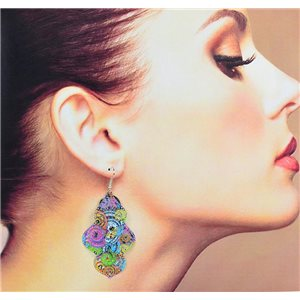 1p Filigree Earrings with silver hook New Ethnic Collection 78344