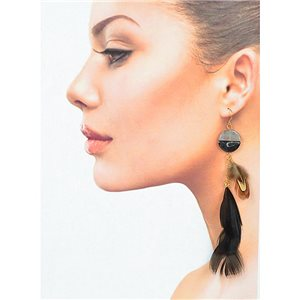 1p Drop earrings with hooks 14cm gold metal New Feathers Collection 78393