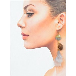 1p Drop earrings with hooks 14cm gold metal New Collection Feathers 78395