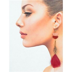 1p Drop earrings with hooks 14cm gold metal New Feathers Collection 78404