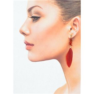 1p Drop Earrings with studs 9cm gold metal New Collection Feathers 78388