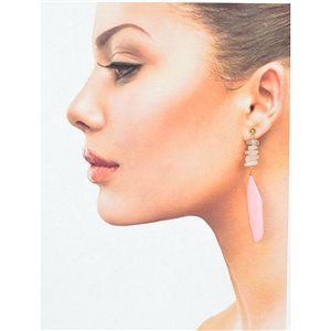 1p Drop Earrings with studs 9cm gold metal New Collection Feathers 78389