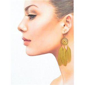 1p Drop earrings with hook 9cm gold metal New Feathers Collection 78417