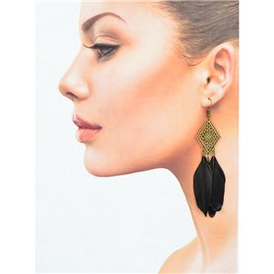 1p Drop earrings with hooks 10cm old metal New Feathers Collection 78418