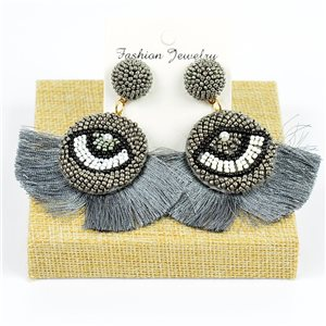 1p Earrings with Pompom Stud and Seed Beads Hand sewn 77787