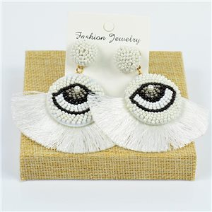 1p Earrings with Pompom Stud and Seed Beads Hand sewn 77788