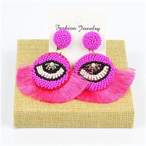 1p Earrings with Pompom Stud and Seed Beads Hand sewn 77789