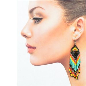 1p Drop Earrings with Hook 10cm Seed Beads Collection 77781