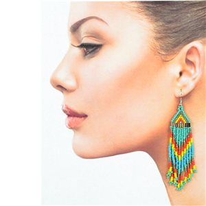 1p Drop Earrings with Hook 10cm Seed beads collection 77784
