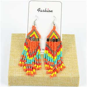 1p Drop Earrings with Hook 10cm Seed beads collection 77785