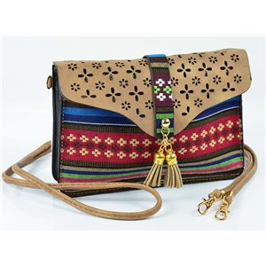 Women's leather-look pouch New Collection Ethnic Fabrics 18 * 14cm 78480