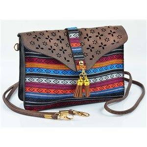 Women's leather-look pouch New Collection Ethnic Fabrics 18 * 14cm 78481