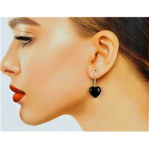 1p Obsidian Stone Silvery Metal Hook Earrings 78624