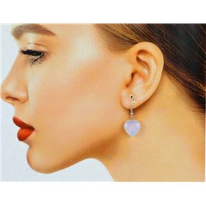 1p Moonstone Stone Silvery Metal Hook Earrings 78626