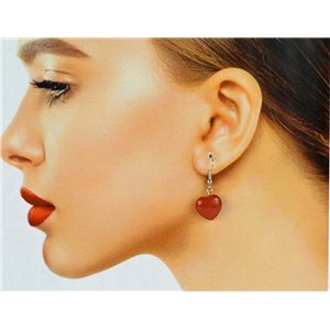 1p Carnelian Stone Silvery Metal Hook Earrings 78635
