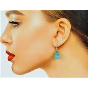 1p Silver Metal Hook Earrings in Blue Howlite Stone 78593