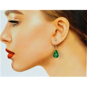 1p Malachite Stone Silvery Metal Hook Earrings 78595