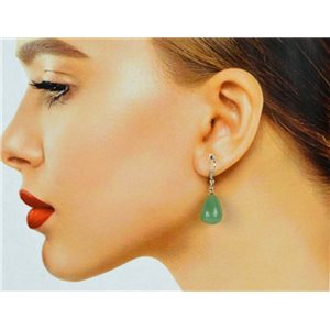 1p Silver-plated Hook Earrings in Green Aventurine Stone78596