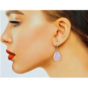 1p Moonstone Stone Silvery Metal Hook Earrings 78614