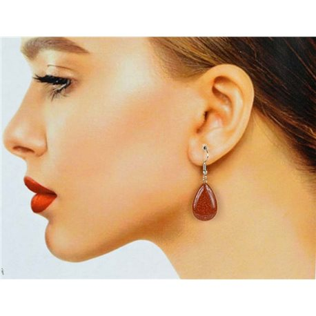 1p Silver Metal Hook Earrings in Sun Stone 78622