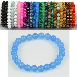 8mm Pearl Bracelet in Blue Aventurine Stone on elastic thread 78669
