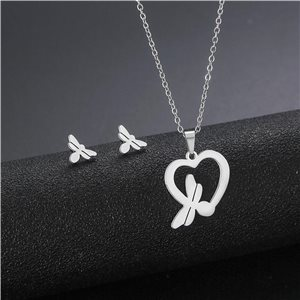 Stainless Steel Set on 44cm stainless steel chain - SILVER Steel Collection 78734