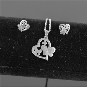 Stainless Steel Set on 44cm stainless steel chain - SILVER Steel Collection 78738