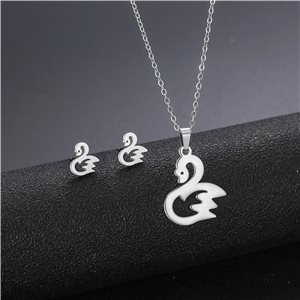 Stainless Steel Set on 44cm stainless steel chain - SILVER Steel Collection 78740