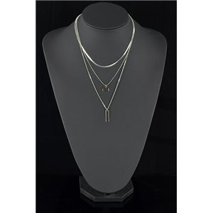 Silver Plated Triple Row Long Necklace New Collection 78578