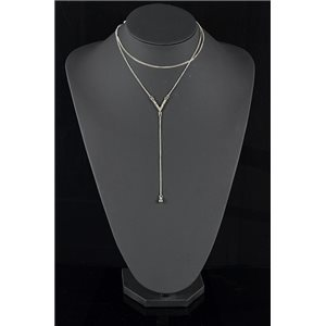 Silver Plated Triple Row Long Necklace New Collection 78580