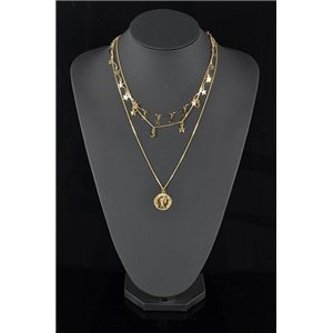 Gold Metal Triple Row Long Necklace New Collection 78585