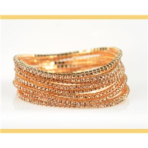 Lot of 10 - Stretch bracelet set with sparkling rhinestones on mesh Gold 78984