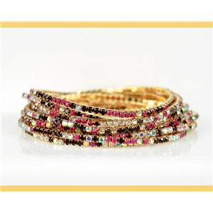 Lot of 10 - Stretch bracelet set with sparkling rhinestones on mesh Gold 78989