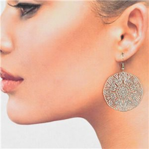1p Filigree Silver Hook Earrings New Collection 78777