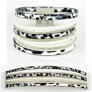 Bracelet Strass Effet manchette multirang fermoir aimanté New Collection 79009