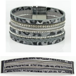 Strass bracelet Multirow cuff effect magnetic clasp New Collection 79010