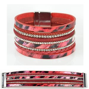 Bracelet Strass Effet manchette multirang fermoir aimanté New Collection 79011