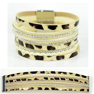 Bracelet Strass Effet manchette multirang fermoir aimanté New Collection 79012