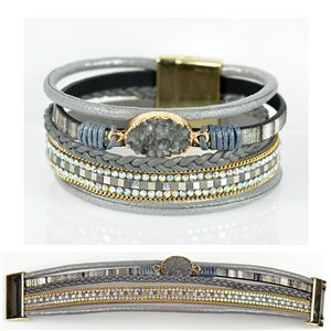 Strass bracelet Multirow cuff effect magnetic clasp New Collection 79014