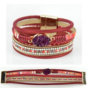 Bracelet Strass Effet manchette multirang fermoir aimanté New Collection 79015