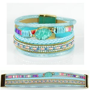 Bracelet Strass Effet manchette multirang fermoir aimanté New Collection 79016