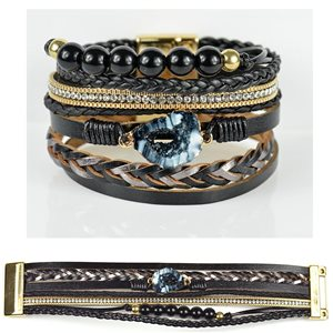 Strass bracelet Multirow cuff effect magnetic clasp New Collection 79017