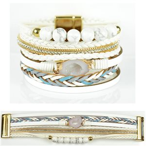 Bracelet Strass Effet manchette multirang fermoir aimanté New Collection 79018